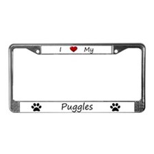 White I Love My Puggles License Plate Frame
