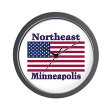 NE Minneapolis US Flag Wall Clock