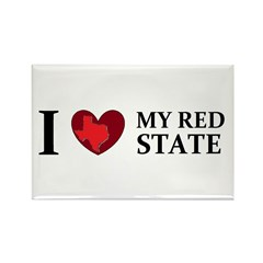 Texas I love my red state Rectangle Magnet (100 pa