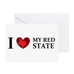 Texas I love my red state Greeting Cards (Pk of 10
