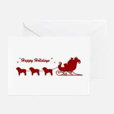 Bulldog Christmas Sleigh Greeting Cards (Pk of 10)