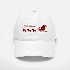 Bulldog Christmas Sleigh Baseball Baseball Cap
