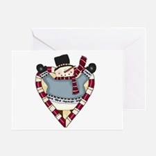 Candy Cane Snowman Greeting Card