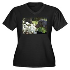 Funny Weimaraners Women's Plus Size V-Neck Dark T-Shirt