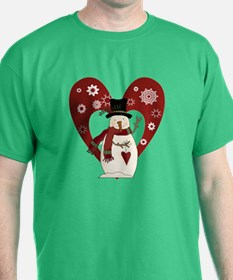 Snowman and Heart T-Shirt