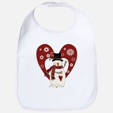 Snowman and Heart Bib