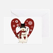 Snowman and Heart Greeting Card