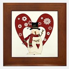 Snowman and Heart Framed Tile