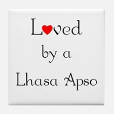 Loved by a Lhasa Apso Tile Coaster