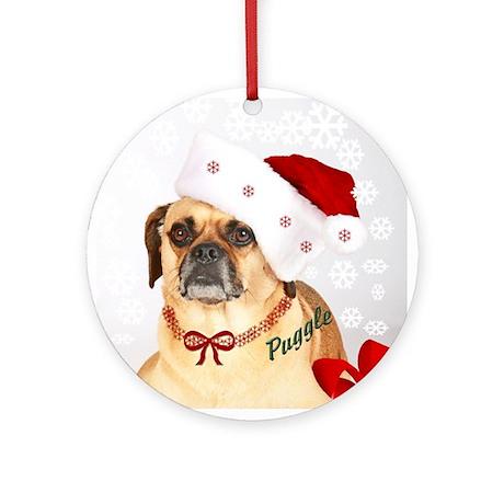 A Puggle Christmas Ornament (Round)