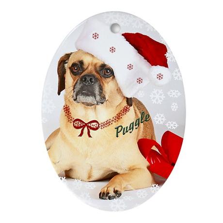 A Puggle Christmas Oval Ornament
