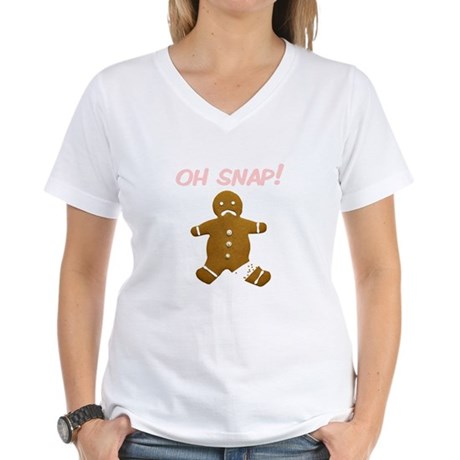 Oh Snap Gingerbread Man Women's V-Neck T-Shirt