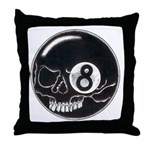 Skull Head Eight Ball Throw Pillow