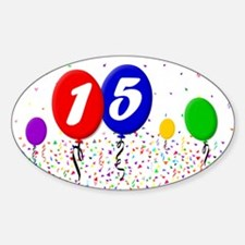 15th Birthday Oval Decal