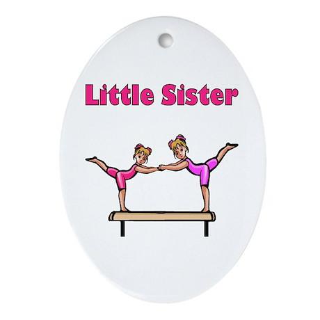 Little Sister Gymnastics Oval Ornament