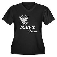 Navy Fiancee Grunge White Women's Plus Size V-Neck
