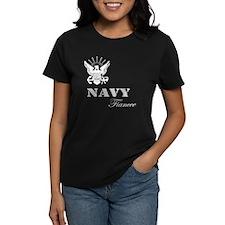 Navy Fiancee Grunge White Tee