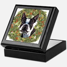 Boston Terrier Xmas Wreath Keepsake Box