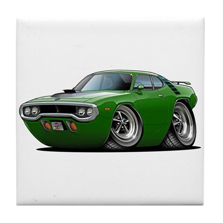 1971-72 Roadrunner Green Car Tile Coaster