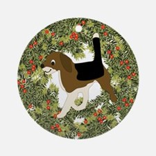 Cartoon Beagle Xmas Wreath Ornament (Round)