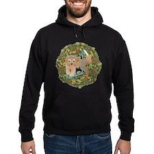 Agility Beardie Xmas Wreath Hoodie