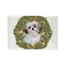 Shih Tzu Xmas Wreath Rectangle Magnet (100 pack)