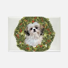 Shih Tzu Xmas Wreath Rectangle Magnet