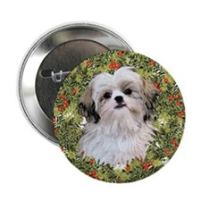"Shih Tzu Xmas Wreath 2.25"" Button"