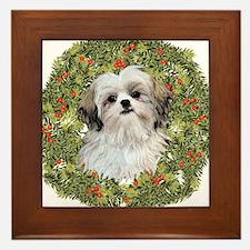 Shih Tzu Xmas Wreath Framed Tile