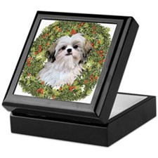 Shih Tzu Xmas Wreath Keepsake Box