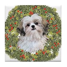 Shih Tzu Xmas Wreath Tile Coaster