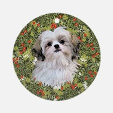 Shih Tzu Xmas Wreath Ornament (Round)