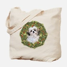 Shih Tzu Xmas Wreath Tote Bag