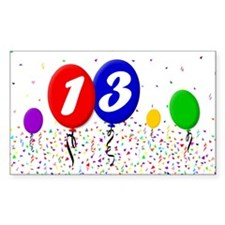 13th Birthday Rectangle Decal