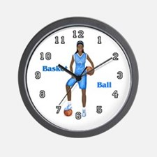 African American Basketball Player Wall Clock