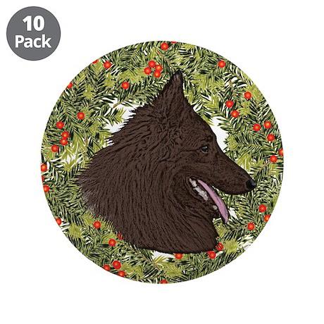"Belgian Tervuren Xmas Wreath 3.5"" Button (10 pack)"