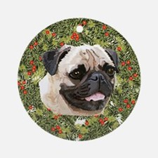 Pug Xmas Wreath Ornament (Round)