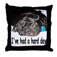 Cute Black pug Throw Pillow