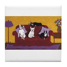 Hart Dogs on Couch Original Tile Coaster