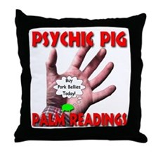 Psychic Pig Palm Readings Throw Pillow
