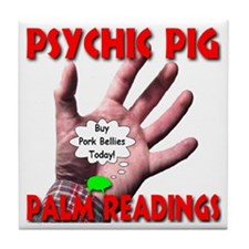 Psychic Pig Palm Readings Tile Coaster