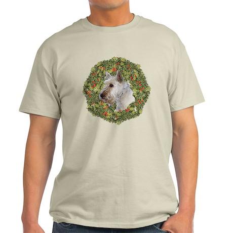 Scotty (Wheaten) Xmas Wreath Light T-Shirt