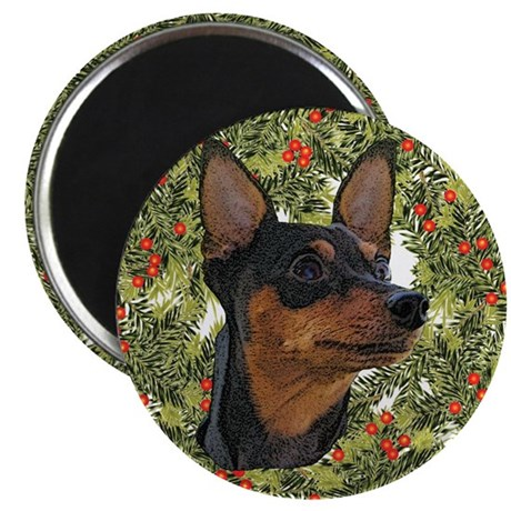 Miniature Pinscher Xmas Wreath Magnet