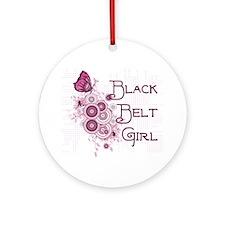 Black Belt Girl Ornament (Round)