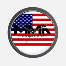 MMA USA Black Text Wall Clock