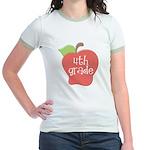 School Apple 4th Grade Jr. Ringer T-Shirt