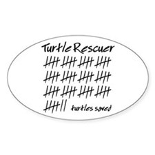 Turtle Rescuer Oval Stickers