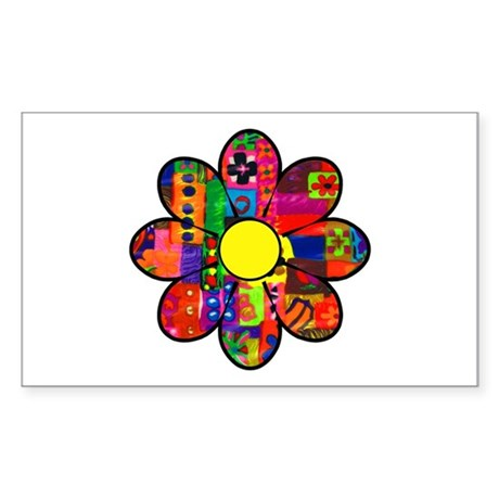 Sixties Flower Rectangle Sticker
