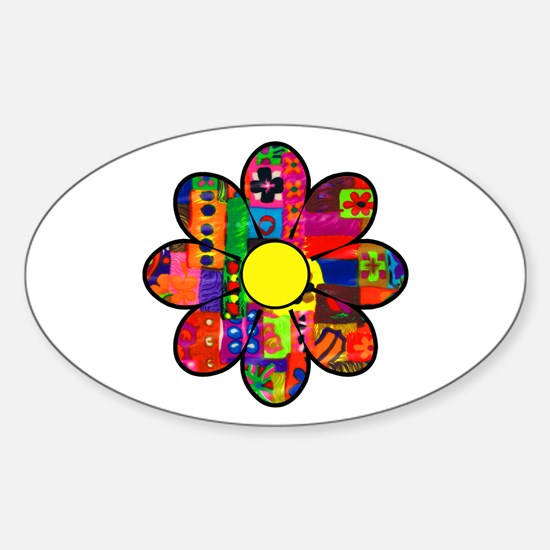 Sixties Flower Oval Decal