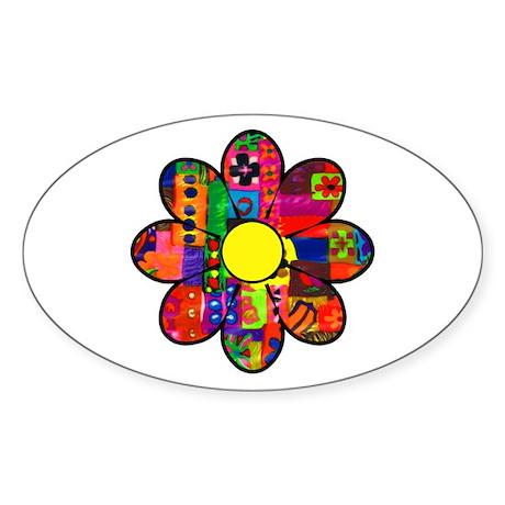 Sixties Flower Oval Sticker